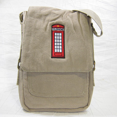 UK,Telephone,Booth,Vertical,Messenger,Tech,Bag, Telephone Booth, Red Telephone Box, Telephone, England, Scotland, Wales, vertical, messenger, bag, tech bag, cotton canvas, embroidered, khaki, Celtique Creations