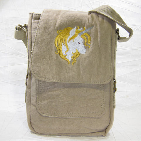 Unicorn,Vertical,Messenger,Tech,Bag,Khaki, Fantasy, Unique, Baroque, Messenger, Vertical, Tech, Bag, Purse, Khaki, Cotton, Canvas, Embroidered, Celtique Creations