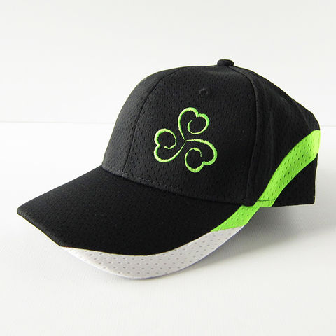 Triskele,Shamrock,Athletic,Baseball,Hat,Cap,Black,with,Neon,Green, Triskelion, Triple Spiral, Shamrock, Clover, Baseball, Hat, Cap, Athletic, Athletic Mesh, Black, Neon Green, Embroidered, Celtique Creations