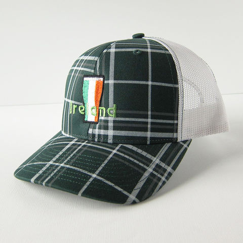 Ireland,Beer,Flag,Plaid,Trucker,Cap, Irish, Flag, Beer, Pint Glass, Tricolor, Trucker Cap, Baseball, Hat, Cap, Plaid, Green, Embroidered, Celtique Creations