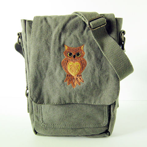 Celtic,Owl,Padded,Vertical,Messenger,Tech,Bag, Owl, Knot, Knotwork, Messenger, Bag, Vertical, Tech, Padded, Olive, Green, Cotton, Canvas, Embroidered, Celtique Creations