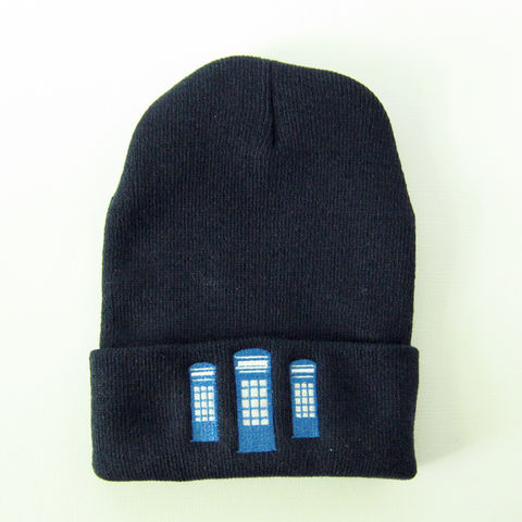 Blue,Police,Box,Knit,Winter,Hat,Navy,Police Box, Blue Box, UK, Tardis, Dr. Who, Knit hat, Winter Hat, Cap, Navy Blue, Embroidered, Celtique Creations