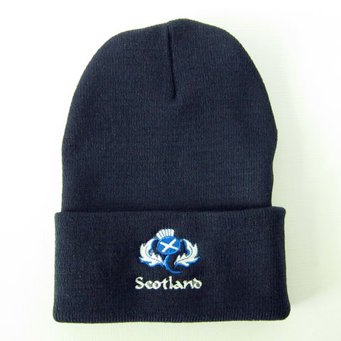 Scotland,Flag,Thistle,Knit,Winter,Hat,Navy,Blue, Scottish, Thistle, Flag, Saltire, St. Andrew's Cross, Winter Hat, Winter Cap, Knit, Polyester, Navy, Blue, Embroidered, Celtique Creations
