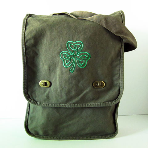 Celtic,Shamrock,Vertical,Messenger,Bag,Green,Cotton,Canvas,Clover,Celtic Shamrock Bag, Shamrock Messenger, Irish Shamrock Vertical Messenger, Knotwork Shamrock Messenger Bag, Field Bag, Vertical Messenger Bag
