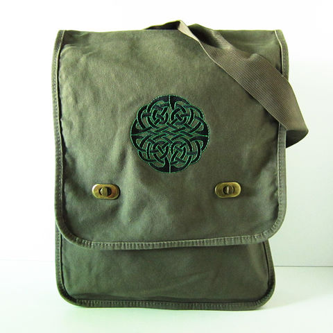 Celtic,Knot,Vertical,Messenger,Bag,Green,Cotton,Canvas,Black,Design,Celtic Knot Messenger Bag, Celtic Knotwork Vertical Messenger Bag, Cotton Canvas Field Bag, Celtic Embroidered Carry All
