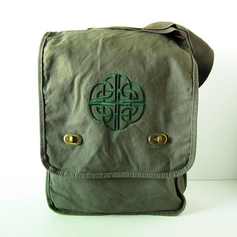 Green,on,Celtic,Knot,Embroidered,Field,Messenger,Bag,Green Celtic Messenger Bag, Celtic Field Bag, Green Celtic Bag, Cottong Canvas Messenger, Green Cotton Messenger, Celtic Knot Messenger Bag, Embroidered Messenger, Celtique Creations