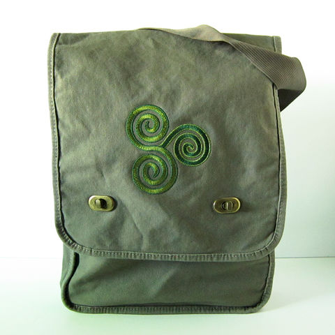 Celtic,Triskelion,Field,Messenger,Bag,Green,Triskele, Triskelion, Triple Spiral, Celtic, Field Bag, Messenger Bag, Vertical Messenger, Cotton Canvas, Embroidered, Celtique Creations, Green