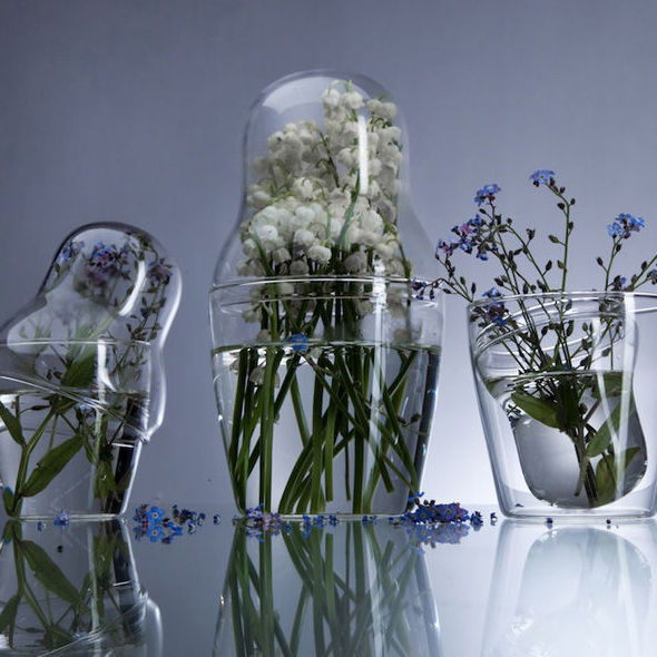 ‹MATROSKA›  READY MADE SET OF 3 PYREX VASES - product images  of