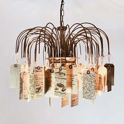 ‹HANGTAG,CEILING,LAMP›,WITH,BRASS-ARCHES,Lampe, lamp, handmade, hangtags