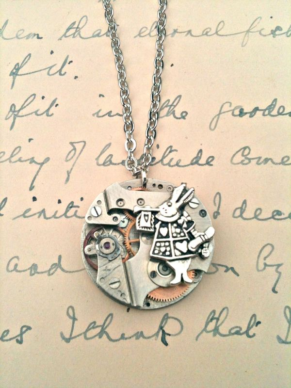 Alice in Wonderland White Rabbit & Mechanism Necklace - product images