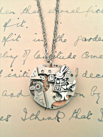 Alice,in,Wonderland,White,Rabbit,&,Mechanism,Necklace,vintage jewellery handmade vintage jewelry vintage jewelry alice in wonderland necklace,steampunk necklace,watch mechanism necklace,white rabbit necklace alice in wonderland shop oxford steampunk winchester forage and find