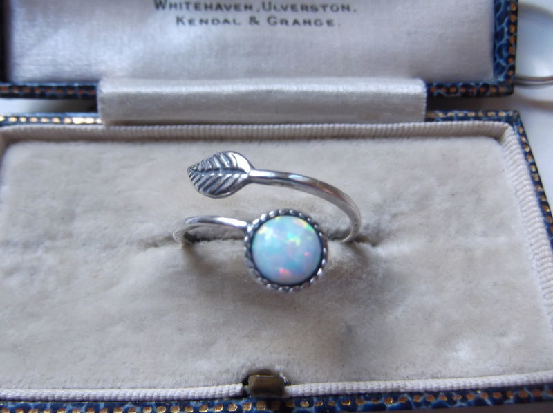 Sterling Silver White or Blue Opal Bohemian Dainty Leaf Wrap Ring - product image