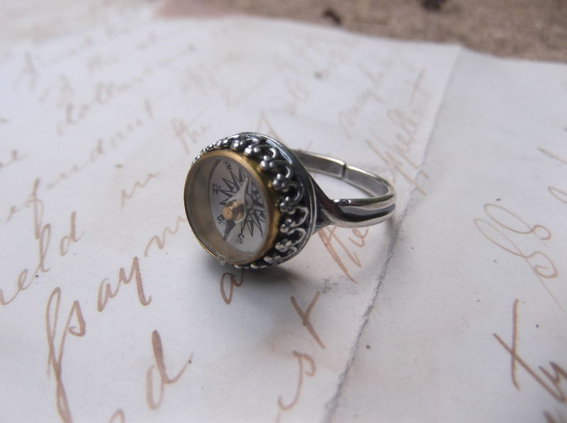 Antique Wanderlust Compass Sterling Silver Ring - product image