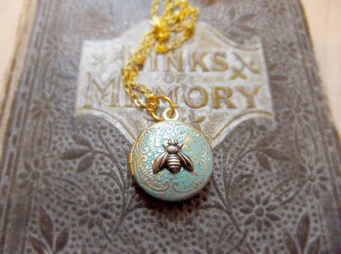 Vintage,Turquoise,Bee,Locket