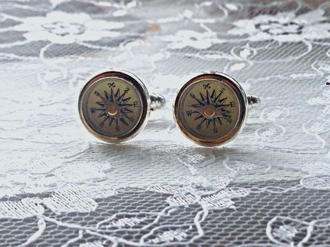Antique,Navigator,Working,Compass,Cufflinks