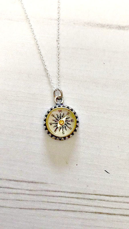 Antique Sterling Silver Working Compass Necklace - product images