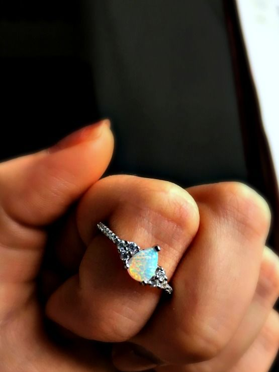 -LUXURY- Snow Opal Vintage Style Sterling Silver Ring - product image