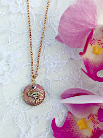 Vintage,Flamingo,Pink,Locket