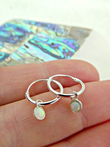 Petite,Sterling,Silver,Opal,Galaxy,Hoops