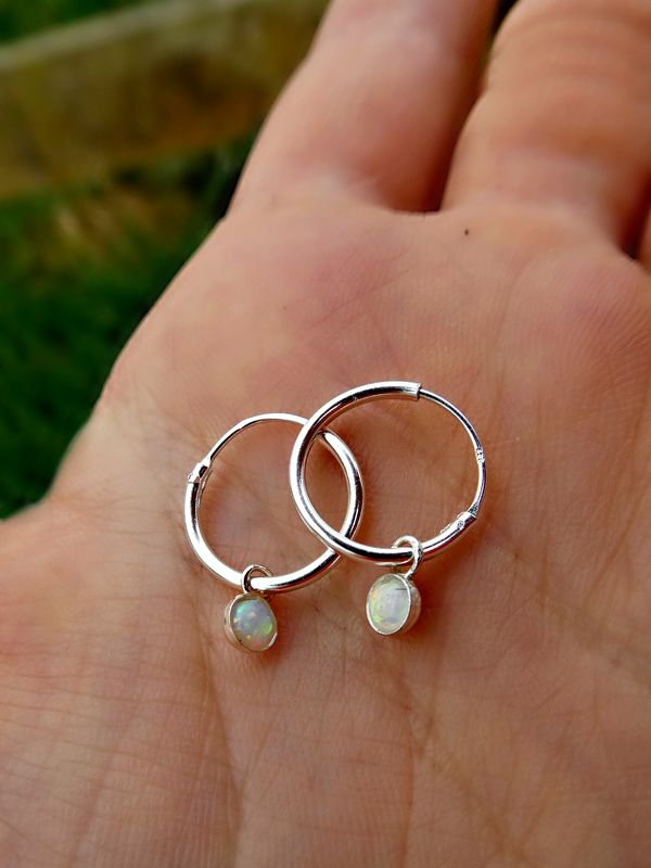 Petite Sterling Silver Opal Galaxy Hoops - product image