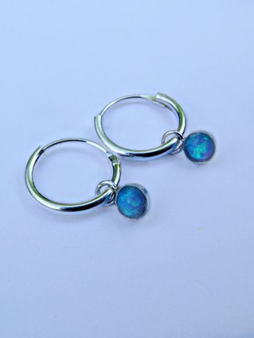 Petite,Sterling,Silver,Blue,Opal,Galaxy,Hoops