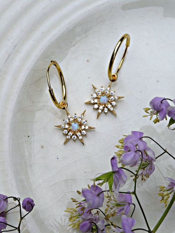 Cosmic Opal Hoop Earrings Gold or Silver Choice - product image