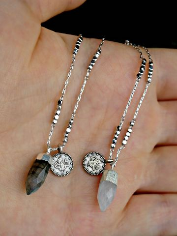 Jewelled,Talisman,Necklace,Labradorite,or,Moonstone