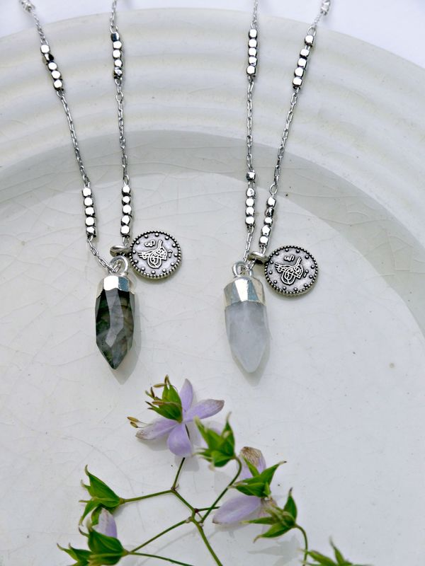 Jewelled Talisman Necklace Labradorite or Moonstone - product image