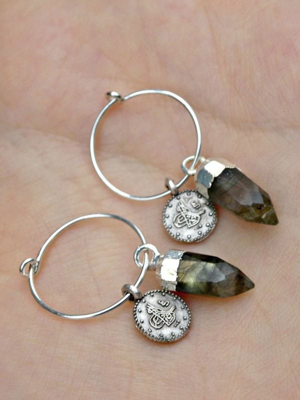 Jewelled Talisman Earrings in Moonstone or Labradorite - product image