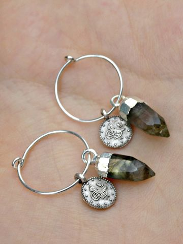 Jewelled,Talisman,Earrings,in,Moonstone,or,Labradorite