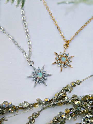 Cosmic,Opal,Snowflake,Necklace