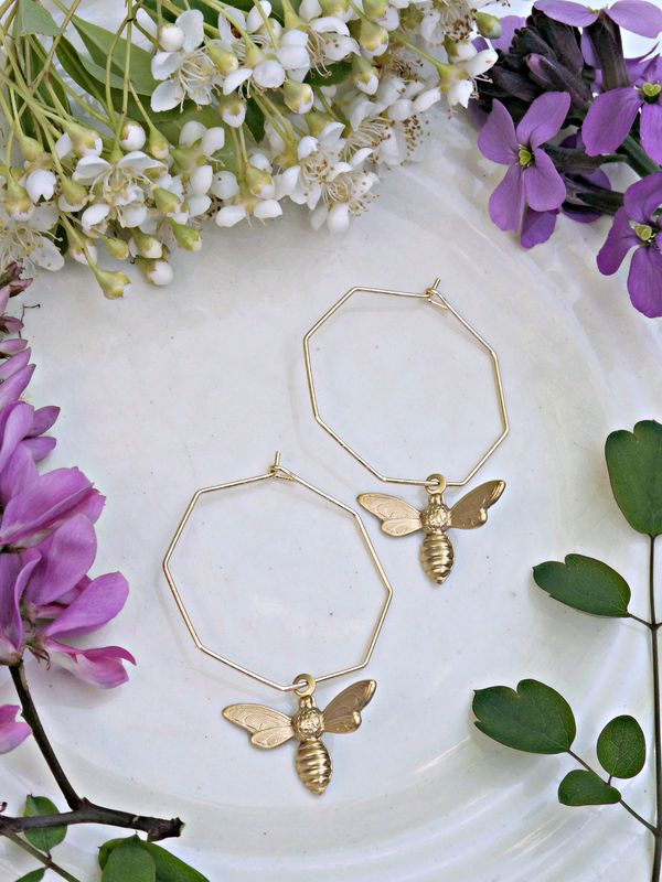 Honeycomb Bee Hoop Earrings - product image