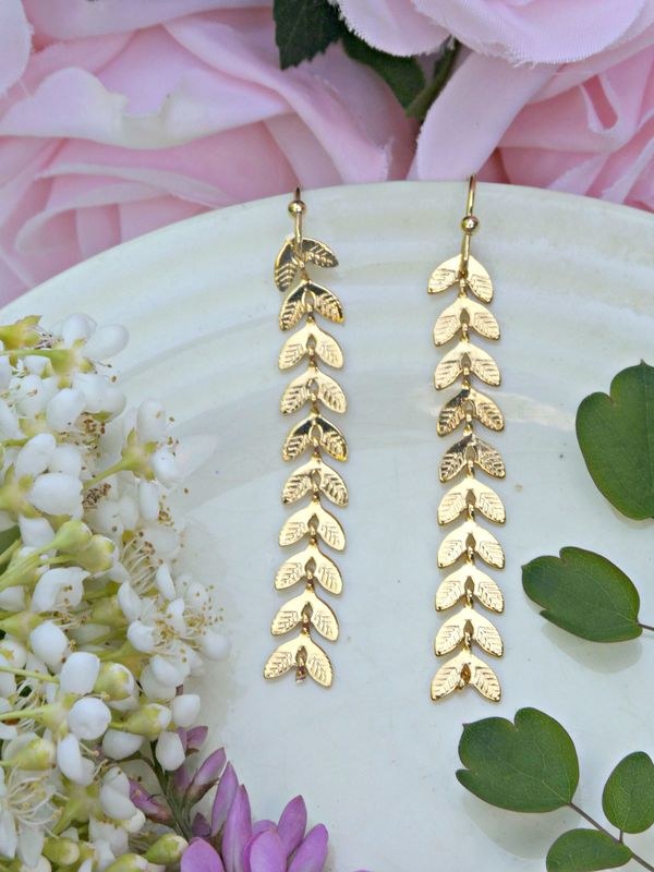 Golden Vine Chevron Earrings - product image
