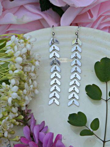 Silver,Chevron,Earrings