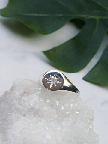 North,Star,Rainbow,Moonstone,Signet,Ring