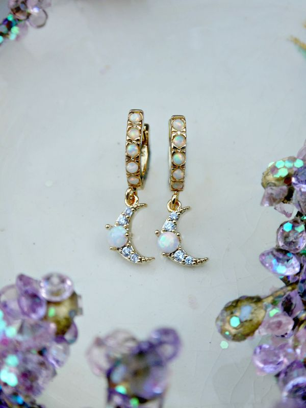 Celestial Opal Huggie Hoop Earrings - product image