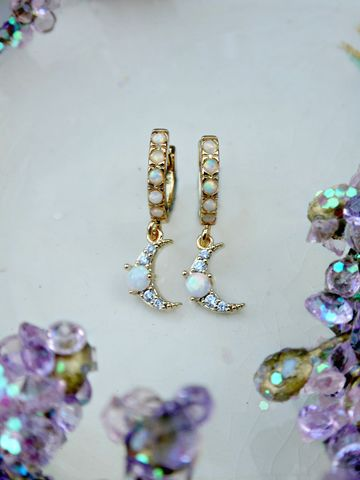 Celestial,Opal,Huggie,Hoop,Earrings