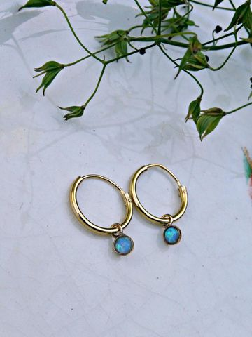Petite,9ct,Gold,Over,Sterling,Silver,Blue,Opal,Galaxy,Sleeper,Dainty,Hoop,Earrings