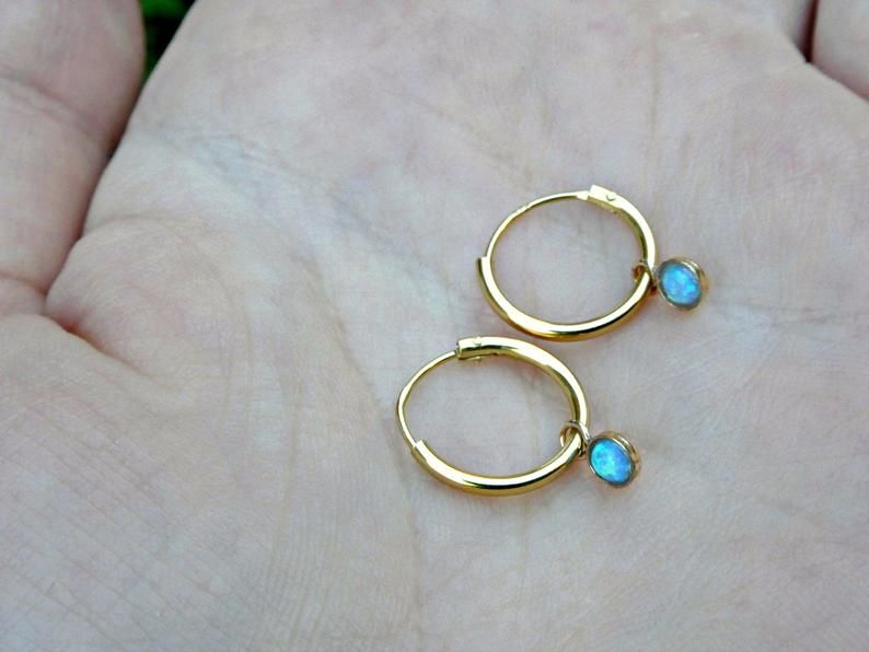 Petite 9ct Gold Over Sterling Silver Blue Opal Galaxy Sleeper Dainty Hoop Earrings - product image