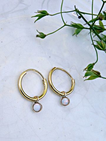 Petite,9ct,Gold,Over,Sterling,Silver,White,Opal,Galaxy,Sleeper,Dainty,Hoop,Earrings