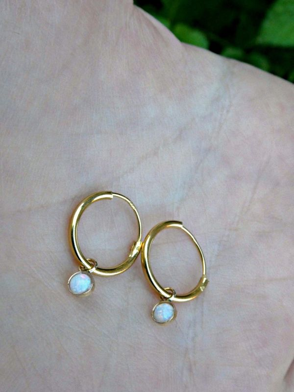 Petite 9ct Gold Over Sterling Silver White Opal Galaxy Sleeper Dainty Hoop Earrings - product image