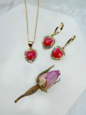 Love,In,Bloom,Enamel,Earrings,&,Necklace