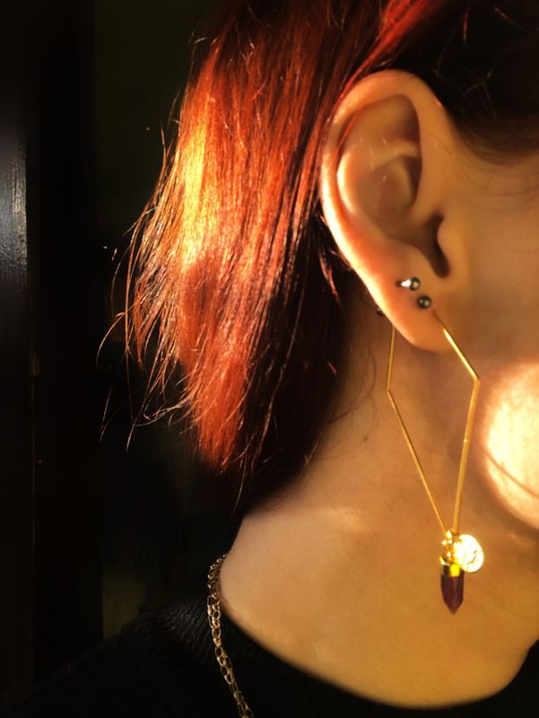 Geometry Gemstone Hoop Earrings - product image