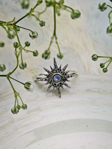 North,Star,Galaxy,Opal,Sterling,Silver,Ring