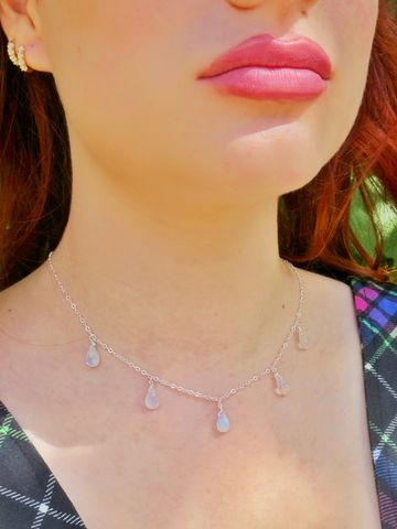 Water,Droplets,Rainbow,Moonstone,Necklace