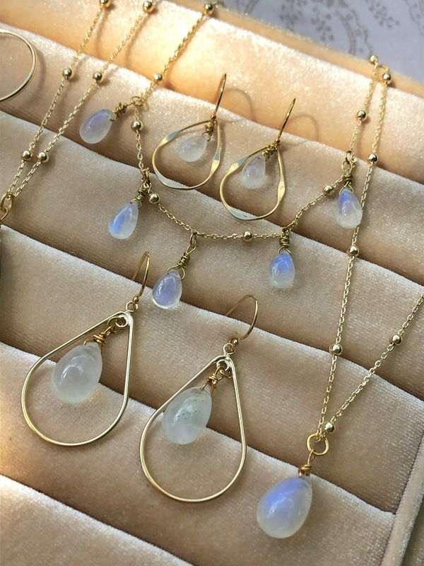 Gold Water Droplets Rainbow Moonstone Necklace - product image