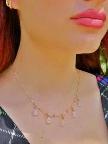 Gold,Water,Droplets,Rainbow,Moonstone,Necklace
