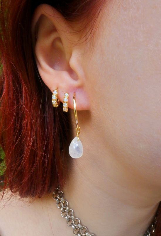 Gold Filled Hoop Rainbow Moonstone Earrings - product image