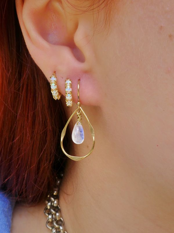 Dainty Gold Peardrop Rainbow Moonstone Earrings - product image