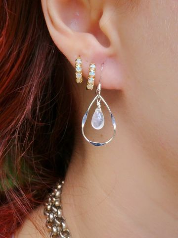 Dainty,Silver,Peardrop,Rainbow,Moonstone,Earrings